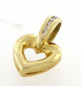 New 14k Yellow Gold Ladies Diamond Heart Pendant