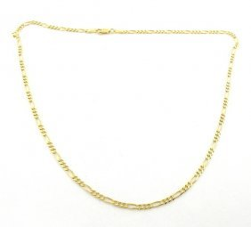 """New 14k Yellow Gold Figaro Solid Chain Necklace 4mm 22"""""""