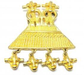 Judith Leiber Large Pendant Golden Calf Egypt Pyramid