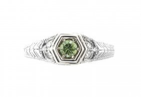 Vintage 14k W/ Gold Diamond & Demantoid Solitaire Ring