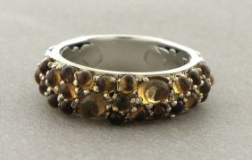 Authentic John Hardy 18k Silver Citrine Band Ring