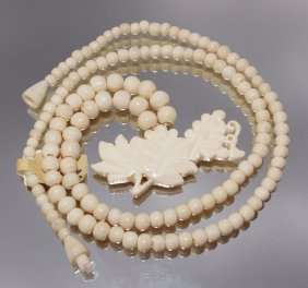 Ivory Carved Necklace With Flower Pendant
