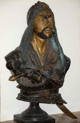 By Emil Epple, Life Size Bronze Warrior/arab Shake