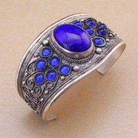 Unisex Vintage Lapis Lazuli Bead Cuff Bracelet Bangle
