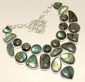 Blue Fire Labradorite Silver Necklace