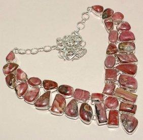 Rhodochrosite Silver Necklace