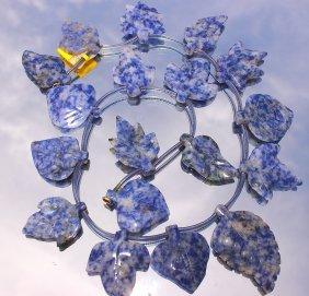 Lapis Lazuli Carved Leaf Necklace