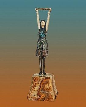 Chiparus-bronze Sculpture First Flowers