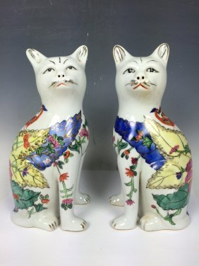 Pair Porcelain Cat