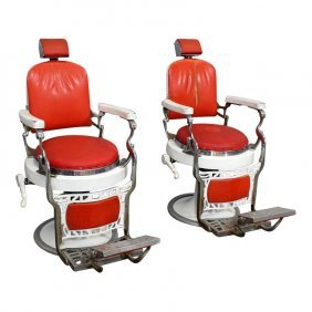 Pair Of Vintage Italian 50s Barber Chairs.