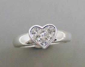 18kwg, Diamond Heart Ring