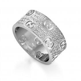 Gucci 18k White Gold Diamond Pave Band Ring