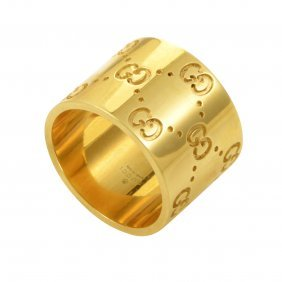 Gucci Icon 18k Yellow Gold Band Ring Designed With
