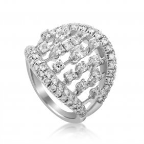 Damiani Abacus 18k White Gold Diamond Ring Formed To