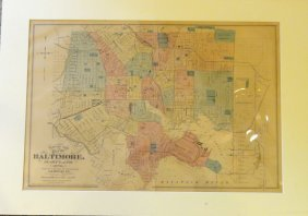 Map Of City Of Baltimore, Maryland, 1876 By Stedman