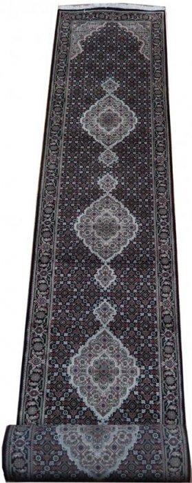Handmade 17' Wool & Silk Tabriz Mahi Indian Runner