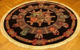 Designer 6 Feet Round Silk&wool Tabriz Rug Kpsi 250