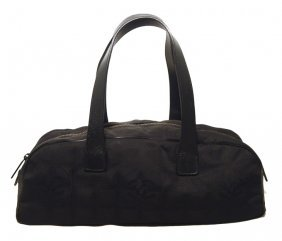 Chanel Black Nylon Traveline Bowler Bag