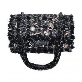 Chanel Black Tweed Charms Classic 10inch 2.55