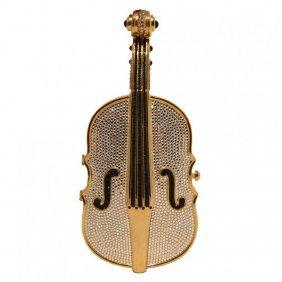 Judith Leiber Swarovski Crystal Cello Minaudiere