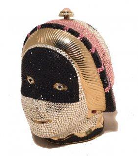 Judith Leiber Rare Swarovski Crystal Mask Minaudiere