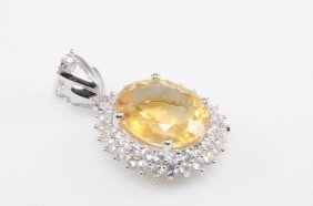 Citrine And White Sapphire Sterling Silver Pendant