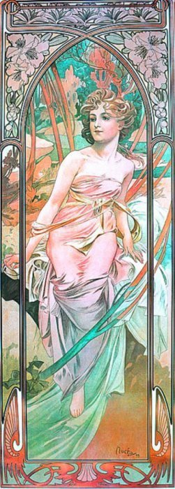 "Alfonse Mucha 1862 - 1937 From ""time Of Day"". #3 1975"