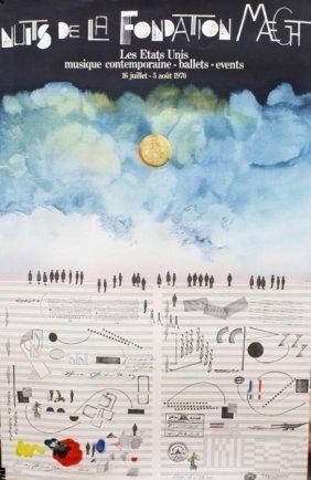 """Saul Steinberg, Lithograph""""nuit De La Fondation Maeght"""