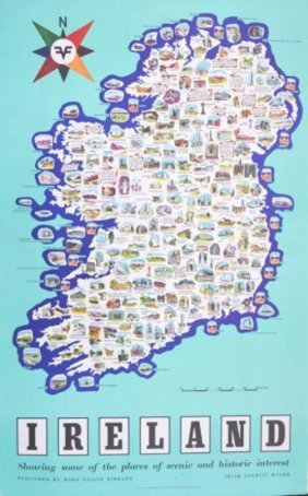 10 Posters. Irish Tourist Board Ireland Map Showing