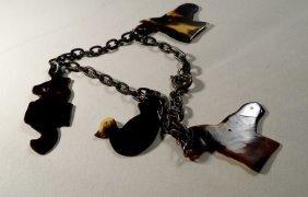 Vintage Tortoise Shell Animals Charm Bracelet Duck
