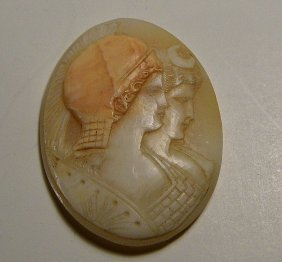 Large Antique Italian Hand Cut Shell Double Cameo
