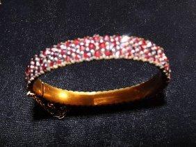 Antique Bohemian Garnet Encrusted Bangle Bracelet