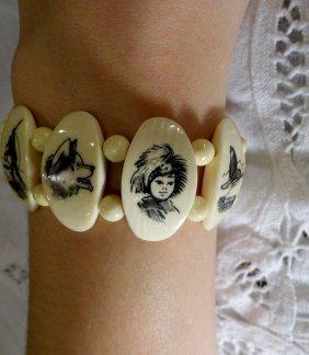 Ivory Alaskan Etched Scrimshaw Stretch Bracelet