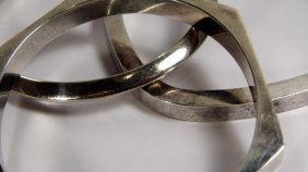 3 Sterling Silver Bangle Bracelets In Various