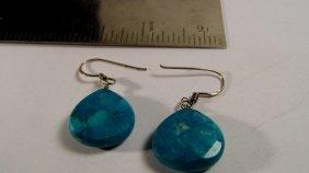Sterling Silver & Cut Turquoise Earrings Teardrops