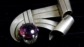 Rare Modern Sterling Silver & Amethyst Taxco Mexican