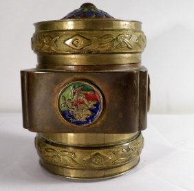 Chinese Brass & Enamel Footed Tea Caddy Pre Wwii