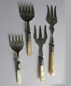 4 Antique English Serving Forks Mother Of Pearl Handles
