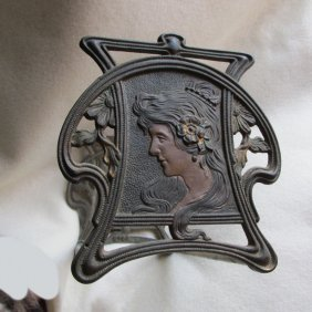 Art Nouveau Expanding Bookends With Lovely Lady