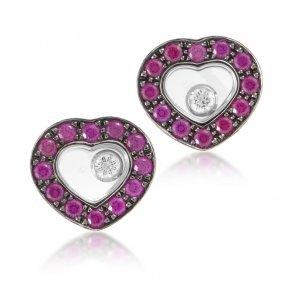 Happy Hearts 18k White Gold Diamond & Ruby Earrings