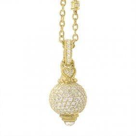 Judith Ripka 18k Yellow Gold Diamond Pave Enhancer