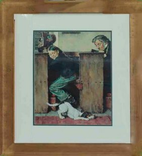 Norman Rockwell-limited Edition Collograph-boys In