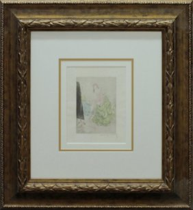 Original Etching Louis Icart Hand Colored Hand Signed