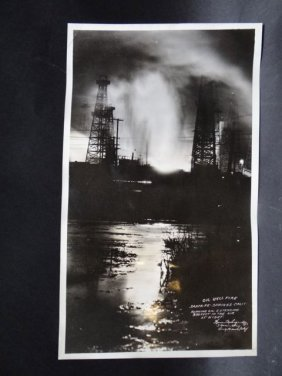 B & W Photograph Of Oil Well Fire At Night, C.1928-29
