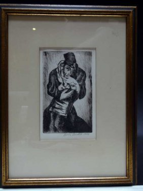 Boris Deutsch (1892 – 1978): Etching Man With Goat 1929