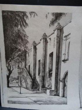 Frederic Watts Lithograph: San Gabriel Mission P805