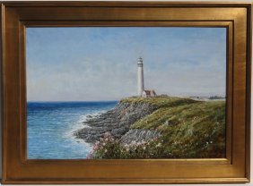 Lighthouse At Sea, Oil Painting By Robin Scott