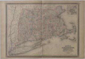 Map Of Massachusetts, Connecticut & Rhode Island, 1868