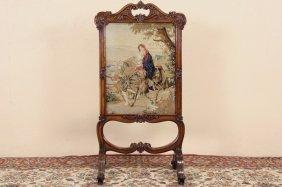 English 1870 Antique Rosewood & Petit Point Firescreen