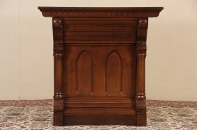 Carved Oak 1880 Antique Lodge Console Cabinet Or